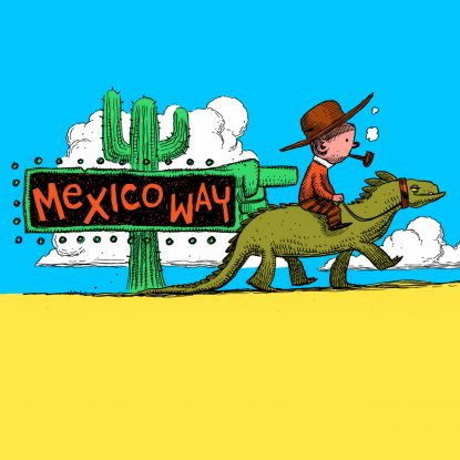 """Illustrator Dan Lish's cover artwork for the 2020 single release of """"Mexico Way"""" by The Lost Highway Tapes on Fabyl"""